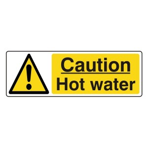Caution Hot Water Sign (Landscape)
