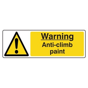 Warning Anti-Climb Paint Sign (Landscape)