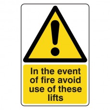 In Event Of Fire Avoid These Lifts Sign