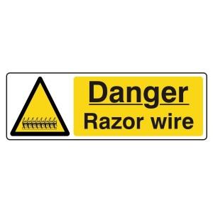 Danger Razor Wire Sign (Landscape)