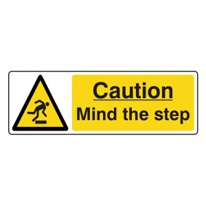 Caution Mind The Step Sign (Landscape)