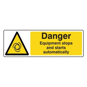 Danger Equipment Stops And Starts Automatically Sign (Landscape)