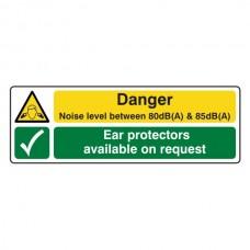 Noise Level Between 80dB(A) & 85 dB(A) /Ear Protectors Sign (Landscape)