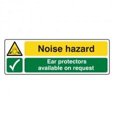 Noise Hazard / Ear Protectors On Request Sign (Landscape)