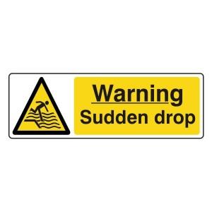 Warning Sudden Drop Sign (Landscape)