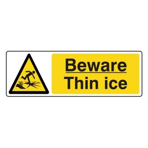 Beware Thin Ice Sign (Landscape)