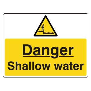 Danger Shallow Water Sign (Large Landscape)