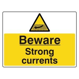 Beware Strong Currents Sign (Large Landscape)