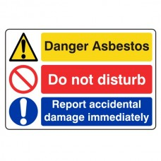 Asbestos / Do Not Disturb / Report Damage Sign (Large Landscape)