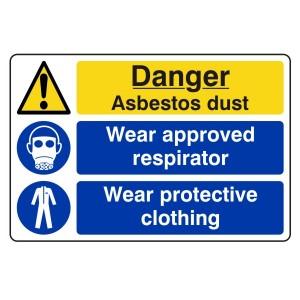 Asbestos Dust / Respirator / Clothing Sign (Large Landscape)