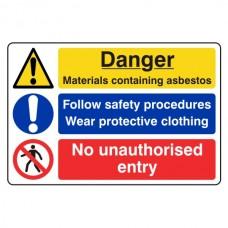 Asbestos / Safety Procedures / No Entry Sign (Large Landscape)