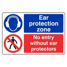 Ear Protection Zone / No Entry Sign (Large Landscape)