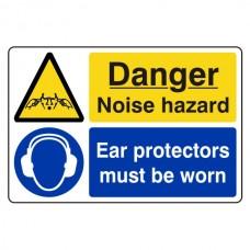 Danger Noise Hazard / Ear Protectors Sign (Large Landscape)