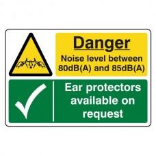 Noise Level Between 80 & 85dB(A) / Ear Protectors Sign (Large Landscape)
