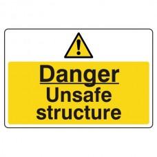 Danger Unsafe Structure Sign (Large Landscape)
