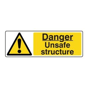 Danger Unsafe Structure Sign (Landscape)