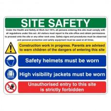 Multi-Hazard Site Safety Hi Viz Jackets Sign (Large Landscape)