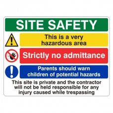 Multi-Hazard Site Safety Very Hazardous Area Sign (Large Landscape)