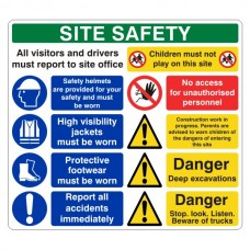 Multi-Hazard Site Safety Children Must Not Play Sign (Large Landscape)