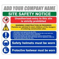 Multi-Hazard Site Safety 5 Point Sign (Large Landscape)