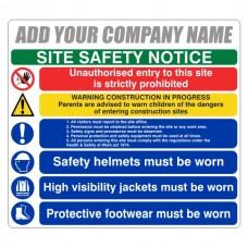 Multi-Hazard Site Safety 6 Point Sign (Large Landscape)