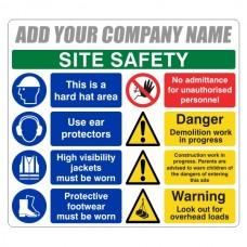 Multi-Hazard Site Safety 8 Point Sign (Large Landscape)
