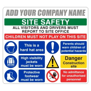 Multi-Hazard Site Safety Visitors To Site Office Sign (Large Landscape)