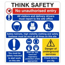 Multi-Hazard Site Safety Think Safety Sign