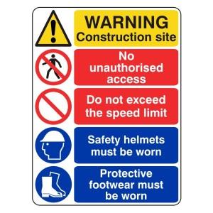 Multi-Hazard Site Safety Do Not Exceed Speed Limit Sign (Portrait)