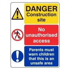 Multi-Hazard Site Safety Parents Warn Children Sign