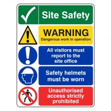 Multi-Hazard Site Safety Warning Sign