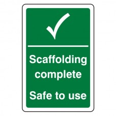 Scaffolding Complete Safe To Use Sign