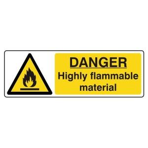 Danger Highly Flammable Material Sign (Landscape)