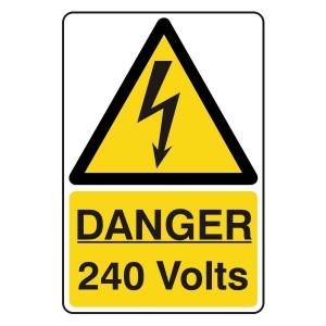 Danger 240 Volts Portrait Sign