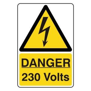 Danger 230 Volts Portrait Sign