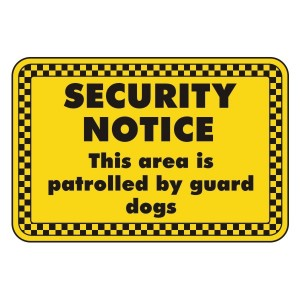 Area Patrolled By Guard Dogs Security Sign (Landscape)