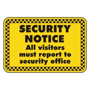 Visitors Must Report To Security Office Security Sign (Landscape)