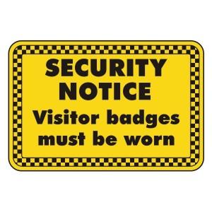 Visitor Badges Must Be Worn Security Sign (Landscape)