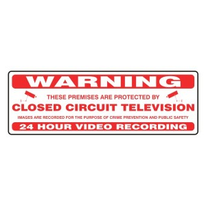 Premises Protected By Closed Circuit Television Security Sign (White Landscape)
