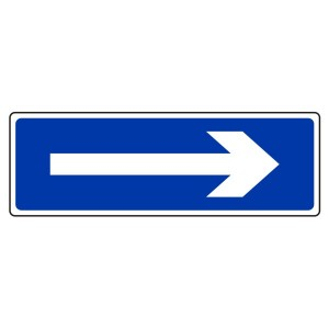 White On Blue Directional Arrow Sign (Landscape)