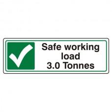 Safe Working Load 3.0 Tonnes Sign (Landscape)