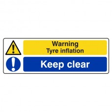Warning Tyre Inflation / Keep Clear Sign (Landscape)