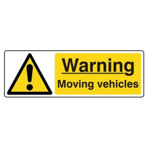Warning Moving Vehicles Sign (Landscape)