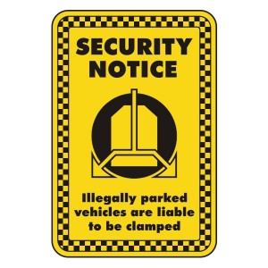 Vehicles Liable To Be Clamped Security Sign