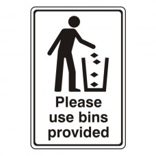 Please Use Bins Provided General Sign