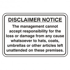 Disclaimer Notice Sign (Large Landscape)