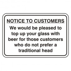 Notice To Customers Pub Sign (Large Landscape)