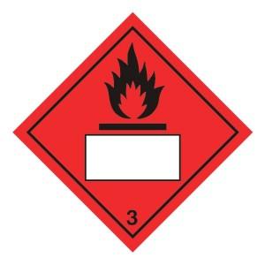 Flammable 3 UN Substance Hazard Numbering Label