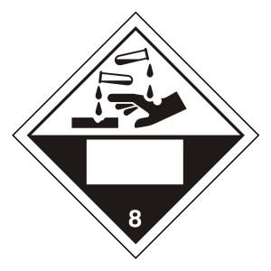 Corrosive 8 UN Substance Hazard Numbering Label