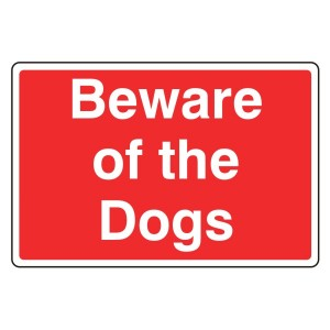 Beware Of The Dogs Farm Sign (Large Landscape)